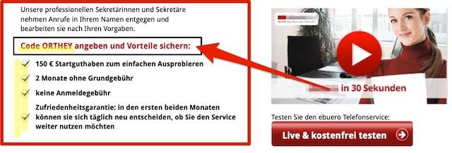 Service Hotline - Sonderkonditionen mit Code ORTHEY
